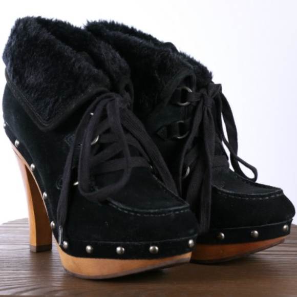 9c3f01f9c223 Guess Shoes - GUESS BOUNTIFUL SHEARLING HIGH HEELED LACEUP BOOT